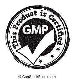 선, 제조의, 연습, (, gmp, ), 표시, 또는, 우표