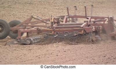 설치, 쟁기, agriculture., field., 기계류, 농업의, 대비하는 것, crop.