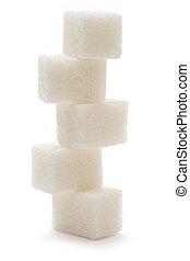 설탕, 배경, 고립된, 백색