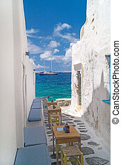 섬, 골목, 전통적인, 그리스어, sifnos, 그리스