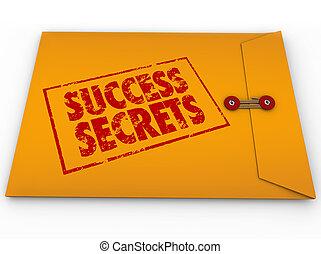 성공, 비밀, 승리를 얻게 하는, 정보, 분류한, 봉투