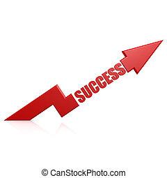 성공, 화살, 위로의, 빨강