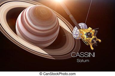 성분, 공급된다, 이것, 심상, -, spacecraft., nasa., cassini, 토성