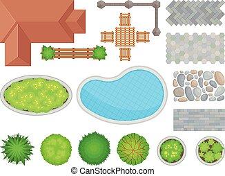 성분, 삽화, 배경., 벡터, 백색, 조경술을 써서 녹화하다, design.