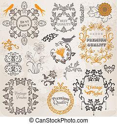 성분, 장식, 구조, 수집, calligraphic, 벡터, 디자인, 포도 수확, 꽃, 페이지, set: