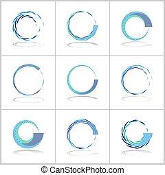성분, set., motion., 나선, icons., 디자인, 원, 떼어내다