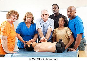 성인 교육, 학급, -, 응급 치료, -, 중대한