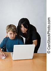 성인, 원조, 아이, 통하고 있는, 컴퓨터