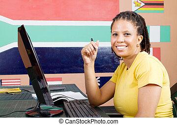 성인 학생, 공부하다, 컴퓨터