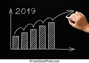 성장, 그래프, 년, 2019, 칠판, 개념