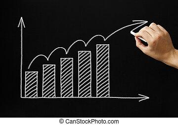 성장, 그래프, 통하고 있는, 칠판