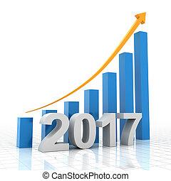 성장 도표, 치고는, 2017, 3차원, render