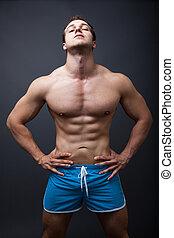성적 매력이 있는, 남자, 와, 근육의, 운동, 몸