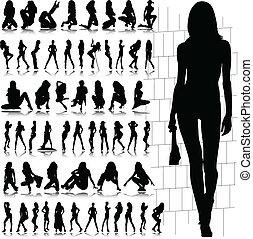 성적 매력이 있는, 뜨거운, 벡터, 실루엣, 소녀