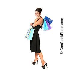 성적 매력이 있는, 쇼핑하고 있는 여성, 치고는, a, 특별한 기회, 에서, 검정