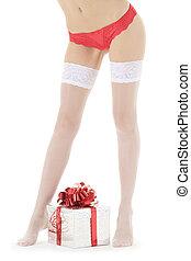 성적 매력이 있는, 여성, 다리, 에서, 백색, 스타킹, 와, 크리스마스 선물