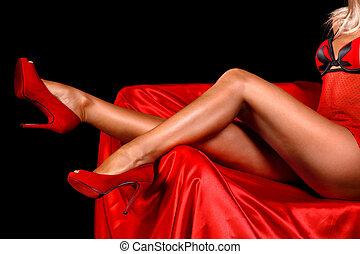 성적 매력이 있는, 여자, 다리