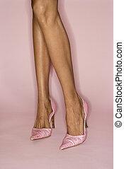 성적 매력이 있는, 여자, 다리, 와..., shoes.