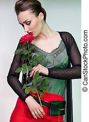 성적 매력이 있는, 여자, 와, 장미, 꽃