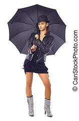 성적 매력이 있는, 여자, 우산, 나이 적은 편의