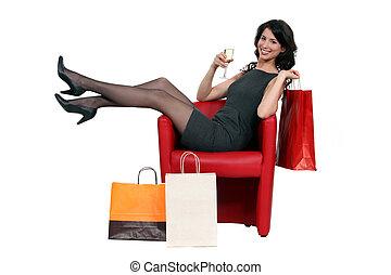 성적 매력이 있는, 여자, 자세를 취함, 와, 그녀, 쇼핑 백, 와..., 술을 마시는 것, a, 와인의...
