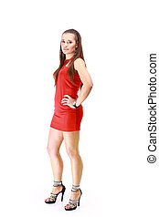 성적 매력이 있는, 의복, 여자, 호리호리한, 빨강