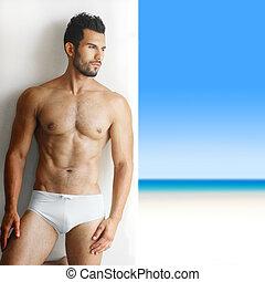 성적 매력이 있는, 잘생긴, 남자, 에서, 속옷