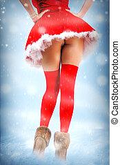 성적 매력이 있는, 크리스마스 카드, -, 다리, 에서, 스타킹