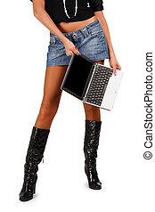성적 매력이 있는, 한 쌍, 의, 다리, 와, 휴대용 퍼스널 컴퓨터
