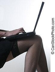 성적 매력이 있는, 휴대용 퍼스널 컴퓨터, 다리