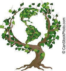 세계, 벡터, 녹색 나무, 삽화