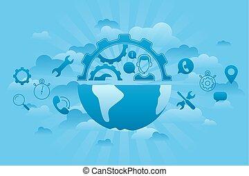세계, 서비스, 파랑