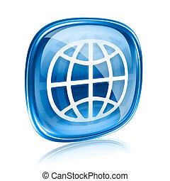 세계, 아이콘, 푸른 글래스, 고립된, 백색 위에서, 배경.