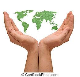 세계 지도, 에서, 여자, 손, 고립된, 백색 위에서