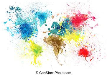 세계 지도, 튀김, 페인트