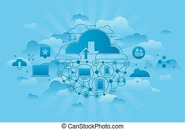 세계, 컴퓨팅, 서비스, 파랑