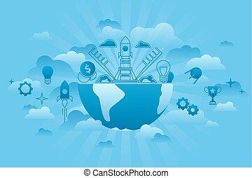 세계, 행동 개시, 개념, 파랑