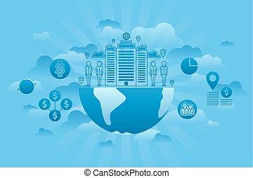 세계, 회사, 개념, 파랑
