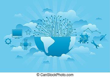 세계, 회사, 파랑