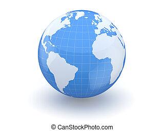 세계, 3차원, map., globe., 지구