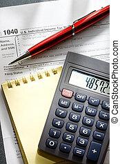 세금, 계산기, 메모장, 형태, 펜, 빨강