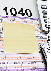 세금 신고서, 1040, 펼쳐졌던 시트, 와, 펜, 계산기, 와..., sticker.