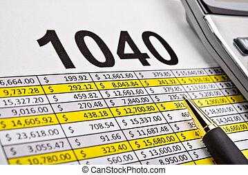 세금 신고서, 1040, 펼쳐졌던 시트, 와, 펜. 그리고, calculator.