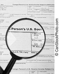 세금 신고서, u.s, 개인, 소득세, return.
