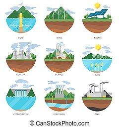 세대, 에너지, types., 발전소, 아이콘, 벡터, 세트