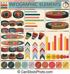 세부, infographic, 벡터, 삽화, -, retro작풍, 디자인