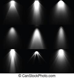 세트, 검정과 백색, 빛, sources., 벡터