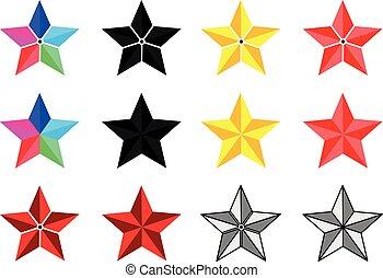 세트, 다른, 별, 은 주연시킨다, 색