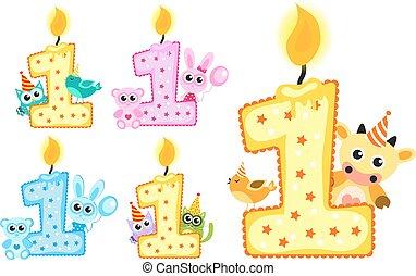 세트, 동물, 고립된, 생일, 배경., 벡터, 삽화, 양초, 백색, 처음, 행복하다