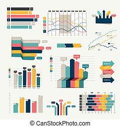 세트, 사업, 바람 빠진 타이어, charts., graph., 디자인, infographics, 3차원